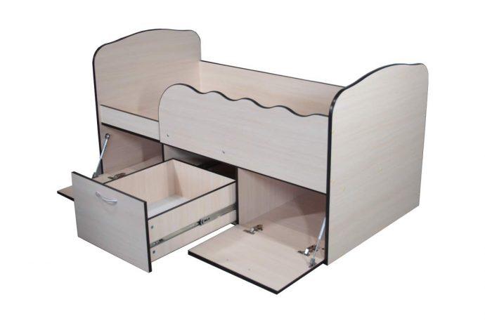 большая кровать с бортиками в комнате пример