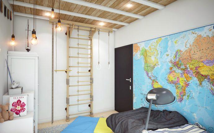дизайнерская спальня в стиле лофт