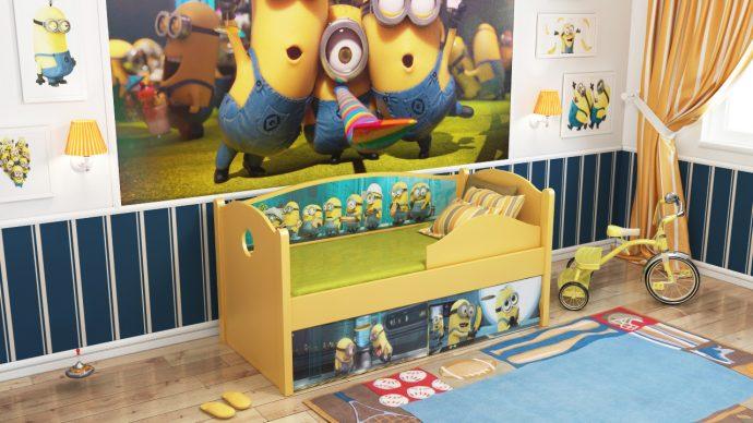 небольшая диван кроватка для детей в комнате пример фото