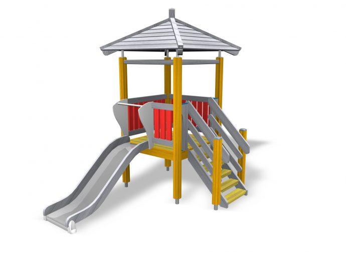 небольшая детская горка установлена вертикально для игр