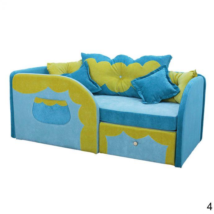 цветная детская кровать с бортиками в интерьере комнаты конструкция