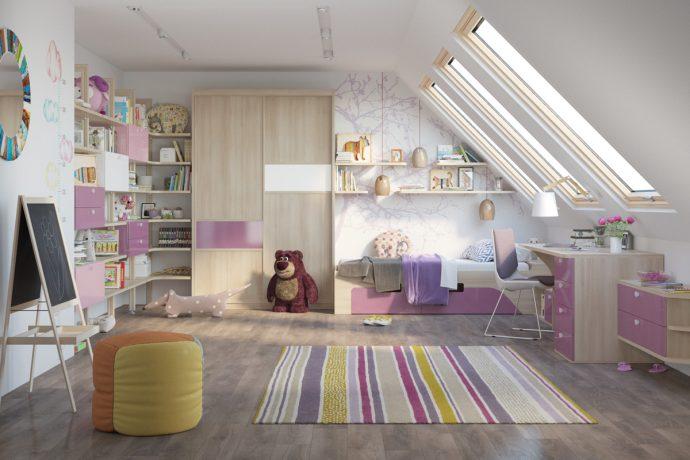 светлая функциональная мебель в детскую для девочки пример