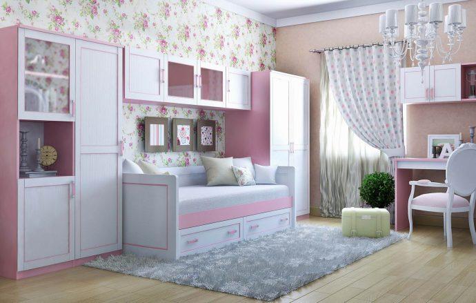 цветная функциональная мебель в детскую для девочки