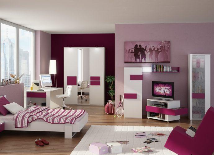 цветная функциональная мебель в детскую комнату для девочки фото