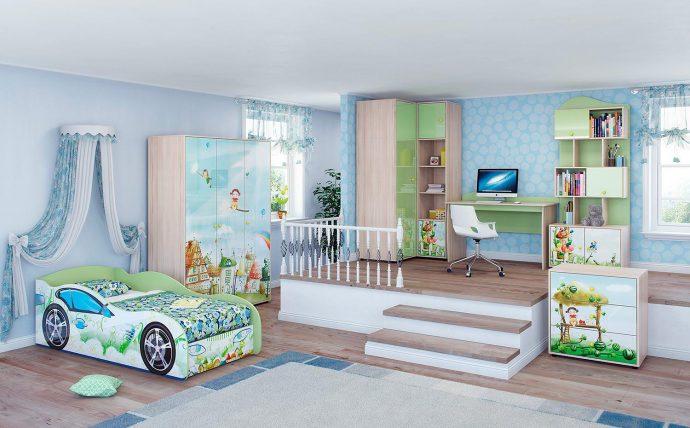 цветная мебель для мальчика в детскую спальню