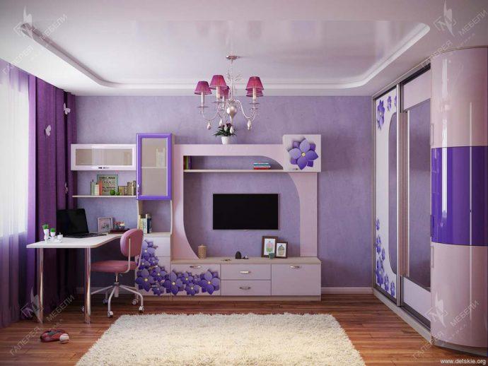 яркая функциональная мебель в детскую для девочки фото дизайна