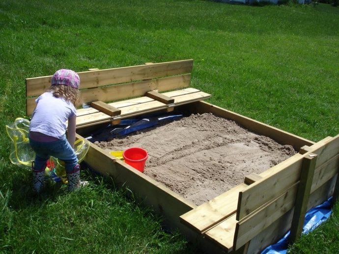 большая песочница на даче своими руками