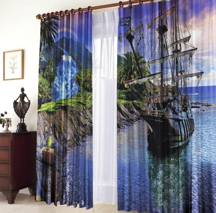 яркие шторы в комнату в интерьере комнаты