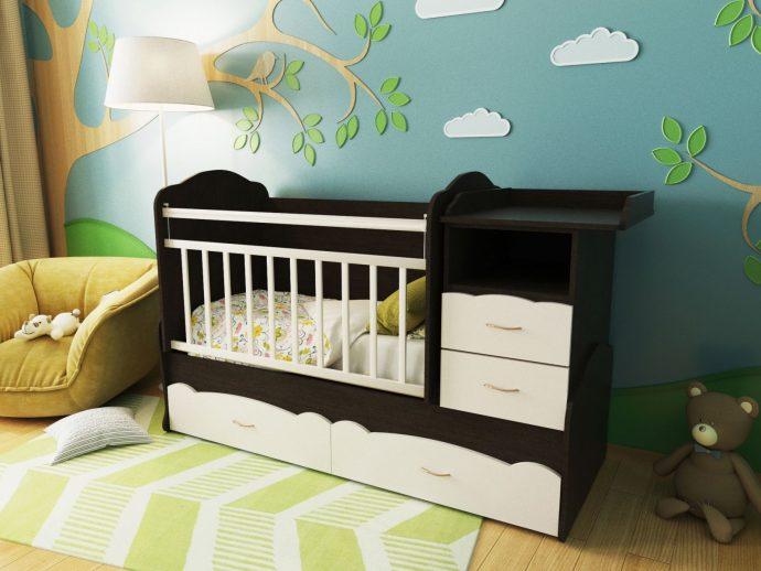 пример кроватки с выдвижным комодом