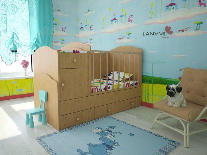 просторная детская кроватка трансформер в детской комнате