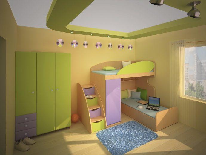 спальня для ребенка в теплых тонах