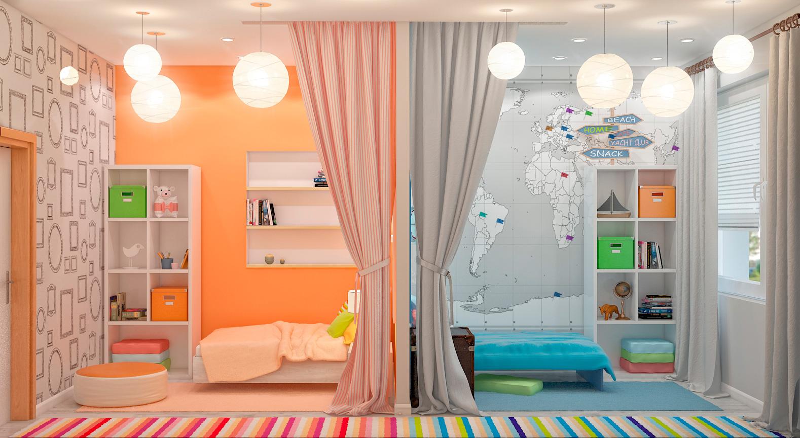 Дизайн детской комнаты для двоих детей разнополых своими руками