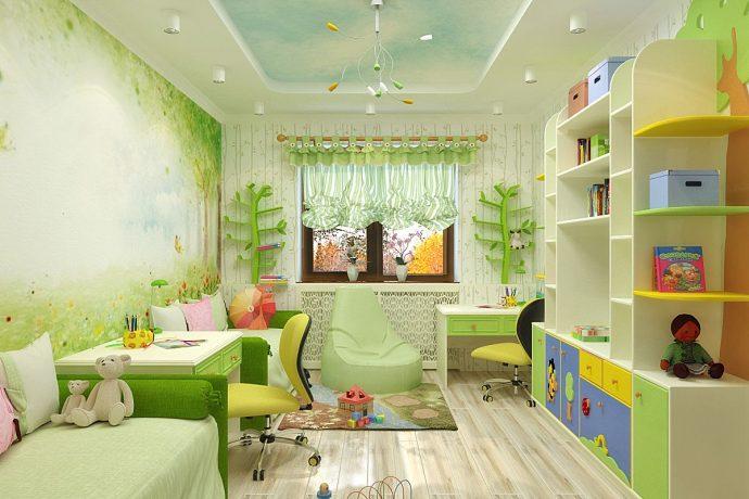 детская комната для детей в ярких тонах