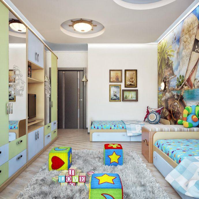 детская спальня для детей в светлом цвете
