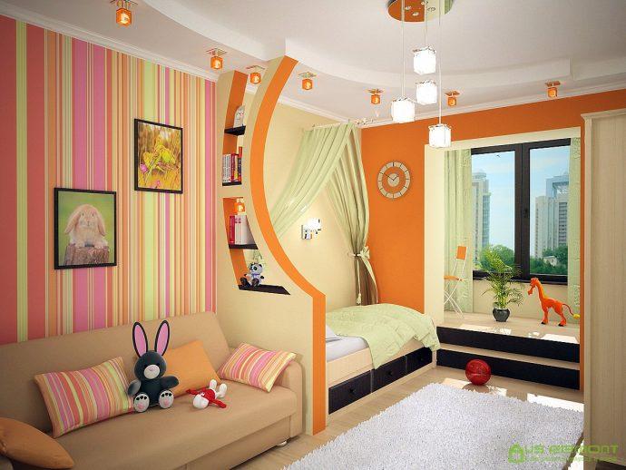 детская спальня для детей в теплых тонах