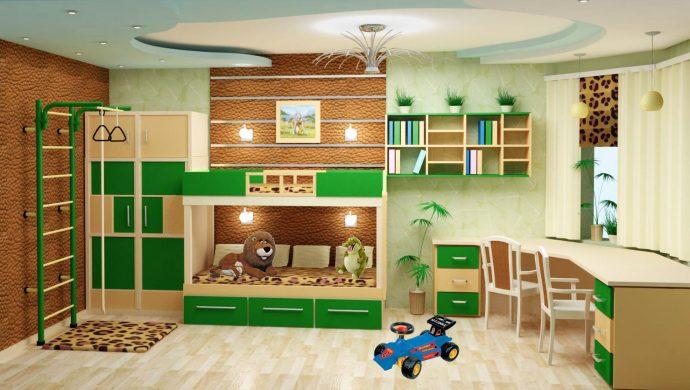 детская комната для двоих детей в ярких тонах