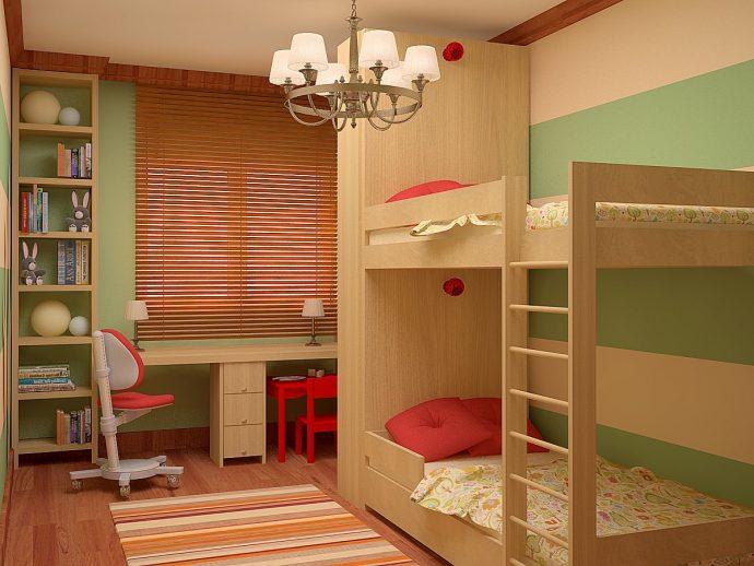 спальня для детей в светлом цвете