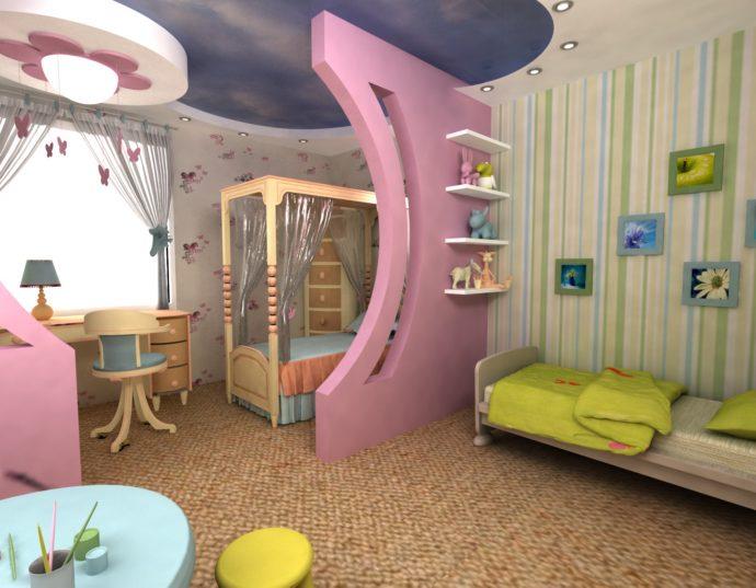 спальня для двоих детей в ярких тонах