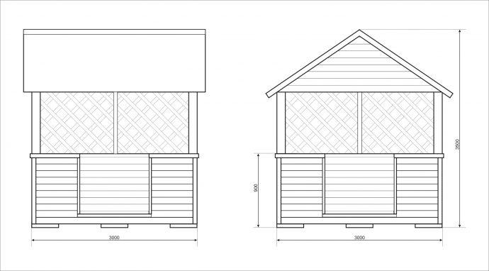 конструкция игрового домика из массива для дачи