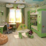 пример дизайна детской комнаты для нескольких детей