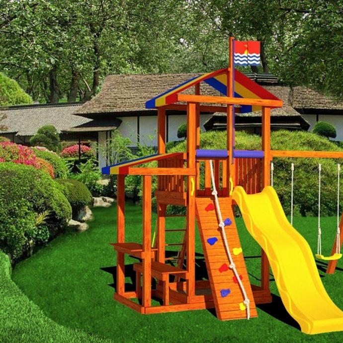 конструкция детской игровой площадки во дворе с турником