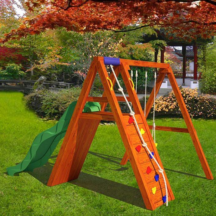 фото детской игровой площадки во дворе на даче с качелей