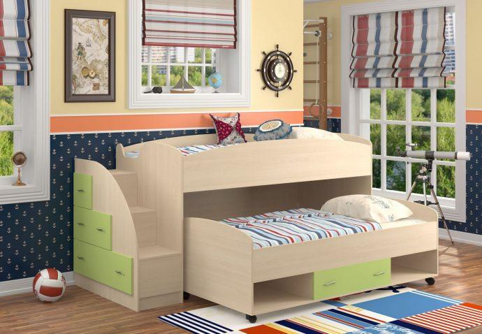 дизайн кроватки дельфин для детей в ярких тонах