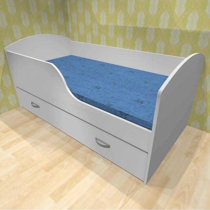 конструкция кроватки для детей в светлых тонах