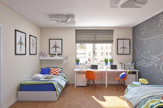 дизайнерская детская комната для двух мальчиков дизайн картинка