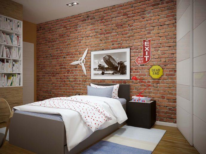 большая детская спальня в стиле лофт