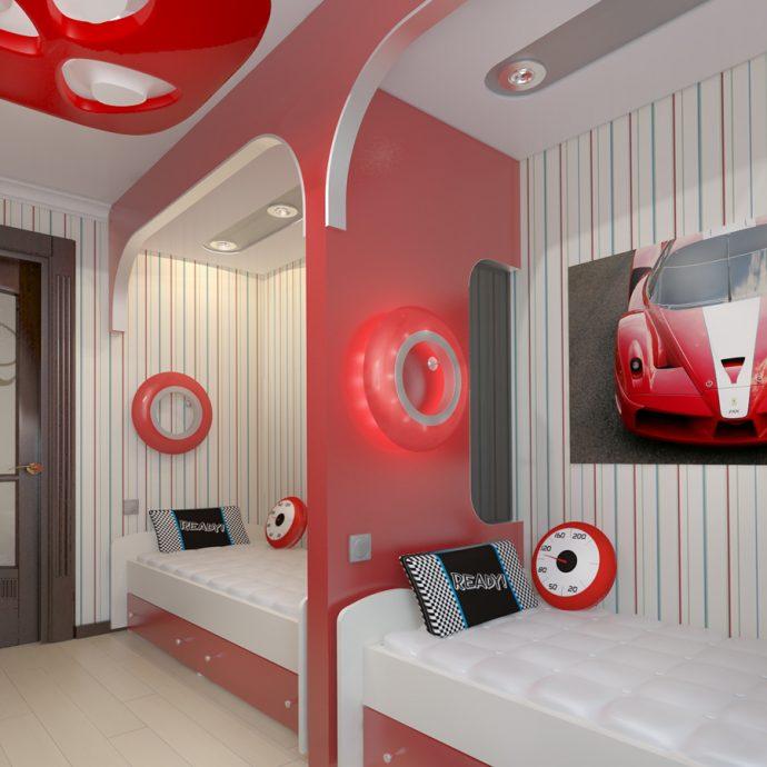красивая спальня для двух мальчиков пример дизайна фото