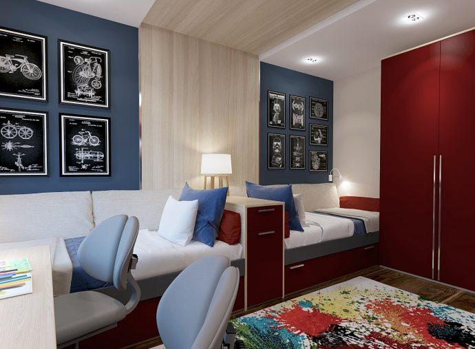 дизайнерская детская спальня для двух мальчиков пример дизайна фото