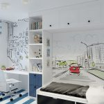 яркая спальня в лофт стиле фото интерьера