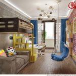 большая детская комната в лофт стиле фото дизайна