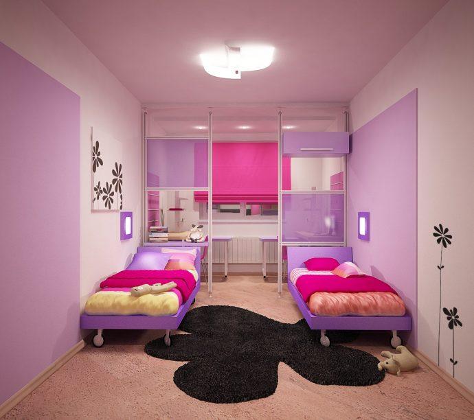 интерьер детской спальни для пары детей