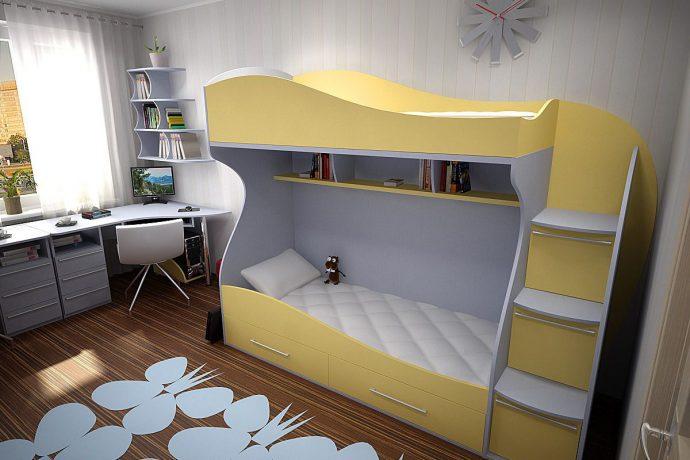 интерьер двухъярусной кровати из дерева в интерьере комнаты
