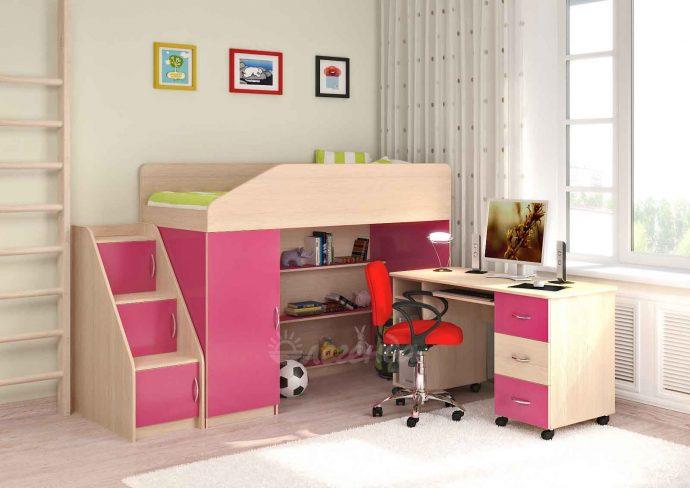 большая детская кровать чердак в дизайне комнаты фото