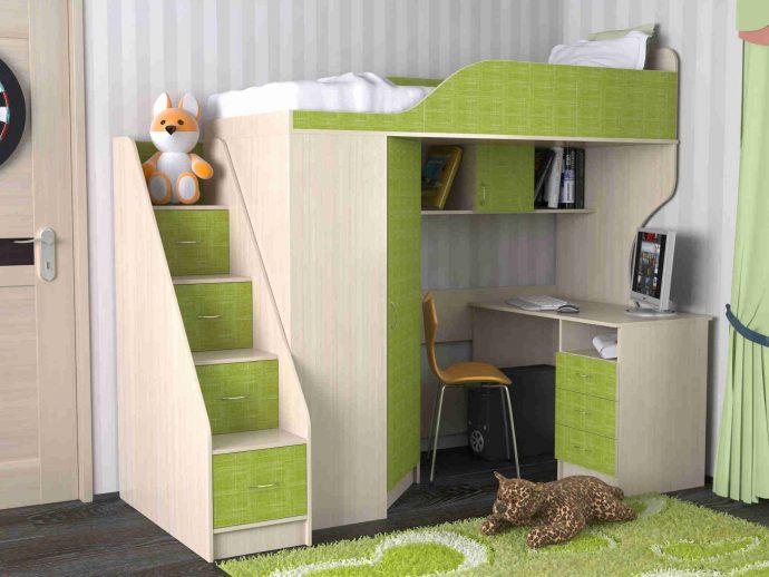 двухъярусная кровать детская чердак в интерьере комнаты пример