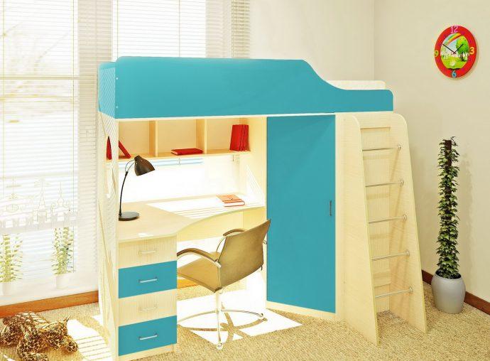 большая детская кроватка чердак в дизайне комнаты пример