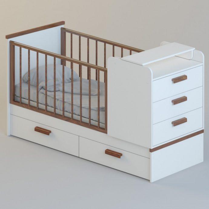яркая кроватка трансформер для малыша