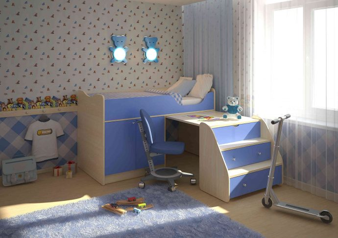 интерьер кроватки с полками