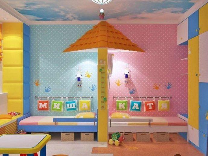 детская комната для детей в светлом цвете