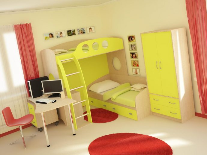 пример интерьера детской комнаты для двоих детей