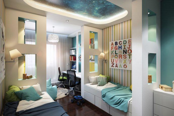решение комнаты для детей для пары детей