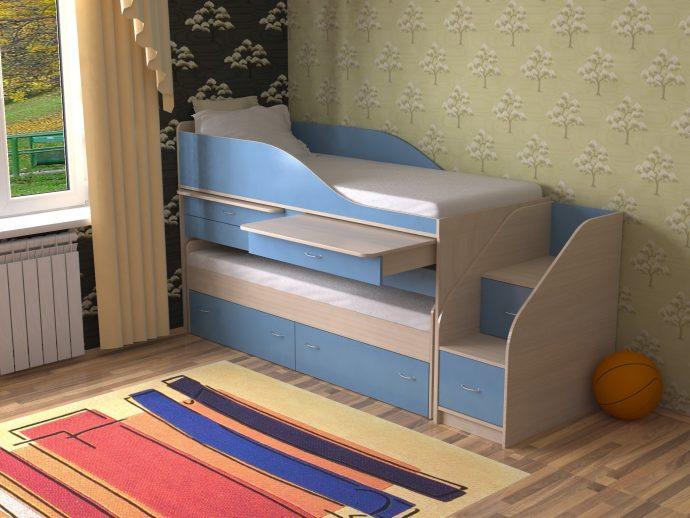 интерьер двухъярусной кровати из дерева в дизайне комнаты