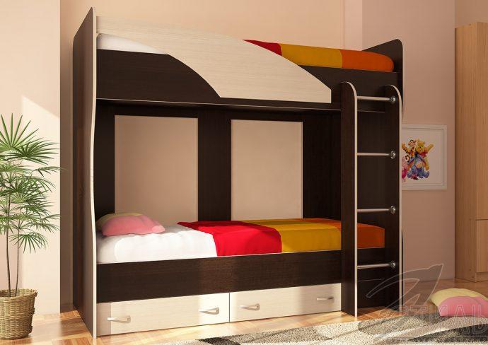 интерьер детской кровати из дерева в дизайне комнаты