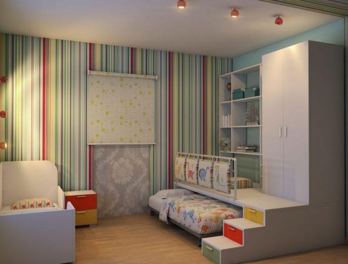 интерьер детской комнаты для пары детей