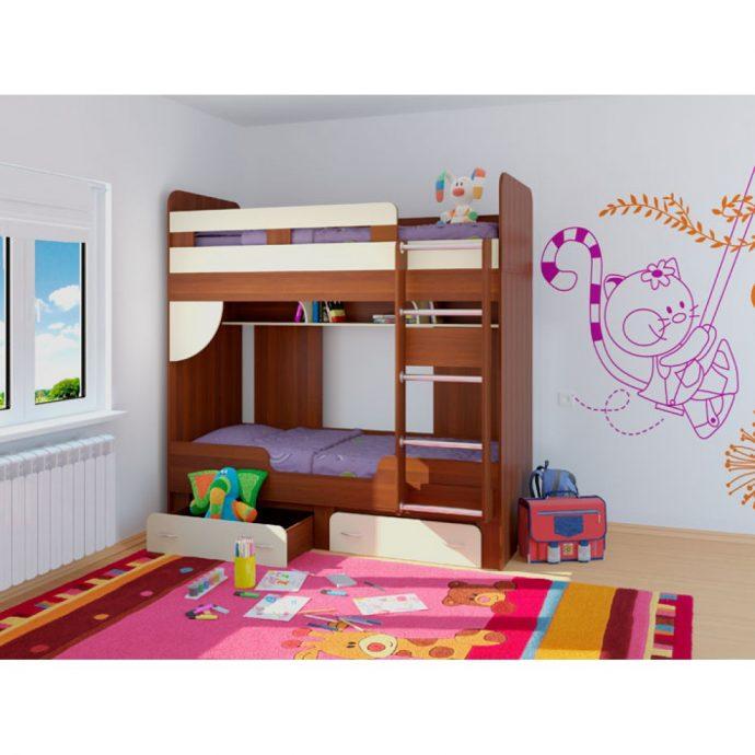 дизайн кровати из массива дерева в дизайне комнаты