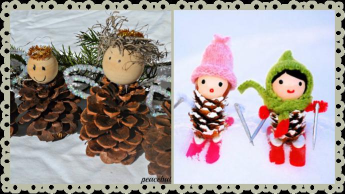 необычная игрушка животное из елки и шишки из подручных материалов фото