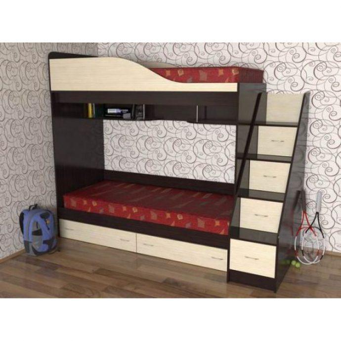 интерьер детской кровати деревянная в спальне